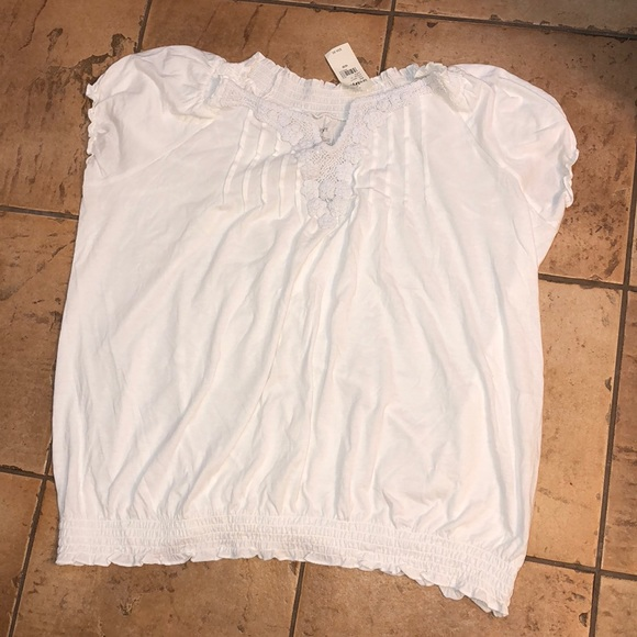 New LANE BRYANT 60 White V-Neck Double Ruffle Bell Sleeve Shirt Plus 14//16 18//20